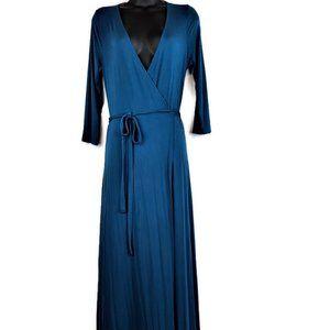 LULU'S Garden District Blue Wrap Maxi Dress Size L